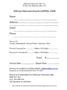 Killarney WC camping form